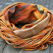 Аксессуары handmade. Livemaster - original item Felted Snood with fringe Orange scarf-loop. Handmade.