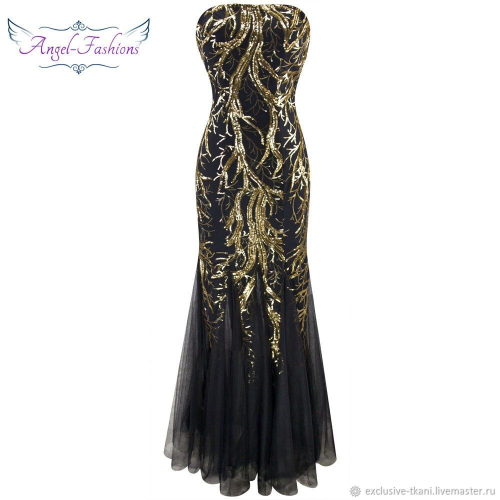 Платье Цвет Черный С Золотом