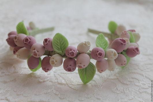 Диадемы, обручи ручной работы. Ярмарка Мастеров - ручная работа. Купить Ободок из ягод Шебби Шик. Handmade. Розовый