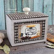 """Для дома и интерьера ручной работы. Ярмарка Мастеров - ручная работа Короб для рецептов """"Кофе с французской булкой"""". Handmade."""