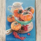 Картины и панно handmade. Livemaster - original item Oil painting. Still life with persimmon.. Handmade.