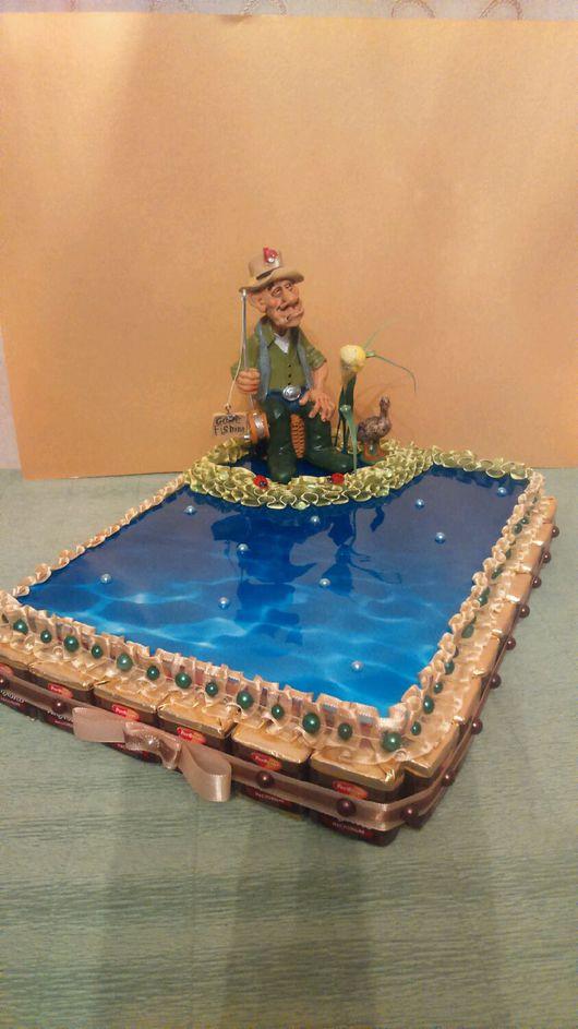 """Персональные подарки ручной работы. Ярмарка Мастеров - ручная работа. Купить Композиция из конфет """" Рыбак"""" несколько вариантов.. Handmade."""