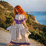 Одежда handmade. Livemaster - original item Boho linen long dress