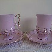 Винтаж ручной работы. Ярмарка Мастеров - ручная работа Розовый фарфор. Чашка с блюдцем для шоколада.. Handmade.