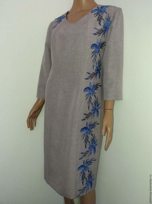 """Этническая одежда ручной работы. Ярмарка Мастеров - ручная работа. Купить платье """"орхидея"""" с рукавом. Handmade. Цветочный, ручная работа"""