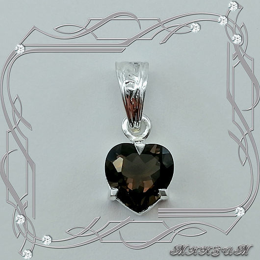 Pendant 'Heart-s' silver 925, Rauch-Topaz, Pendants, St. Petersburg,  Фото №1