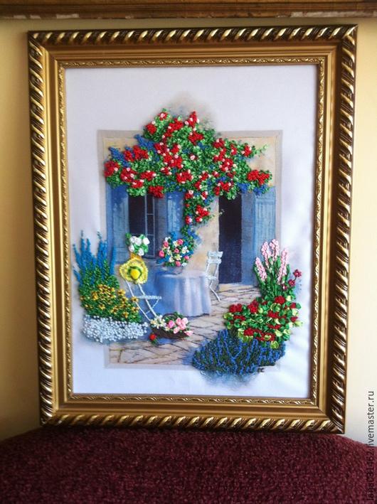 """Пейзаж ручной работы. Ярмарка Мастеров - ручная работа. Купить картина   """"Уголок отдыха"""". Handmade. Разноцветный, алая роза"""