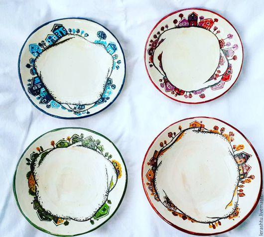 Тарелки ручной работы. Ярмарка Мастеров - ручная работа. Купить времена года. Handmade. Комбинированный, осень, Керамика, керамическая тарелка