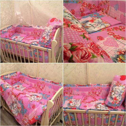Детская ручной работы. Ярмарка Мастеров - ручная работа. Купить Комплект в кроватку для девочки из 5 предметов из натурального хлопка. Handmade.
