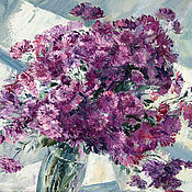 Картины и панно handmade. Livemaster - original item Oil painting with chrysanthemums
