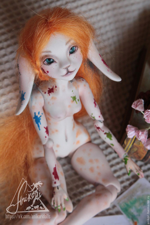 Шарнирная зайка художница Шарлотта (Чарли) кукла BJD, Коллекционные куклы, Москва, Фото №1