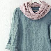 Одежда handmade. Livemaster - original item Blouse with open edges made of gray-blue linen. Handmade.