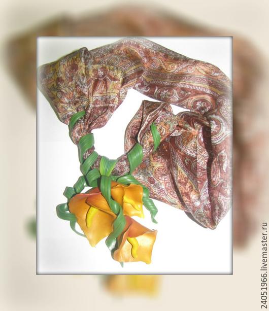Кулоны, подвески ручной работы. Ярмарка Мастеров - ручная работа. Купить Шейный платочек. Handmade. Оранжевый, коричневый, осенний аксессуар