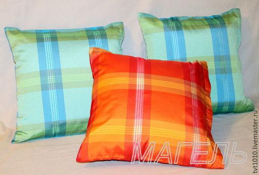 """Текстиль, ковры ручной работы. Ярмарка Мастеров - ручная работа. Купить подушки в клетку зеленые красные """"кантри"""". Handmade. Комбинированный"""