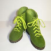 """Обувь ручной работы. Ярмарка Мастеров - ручная работа Ботинки валяные """"Зеленушки:)"""". Handmade."""