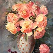 Картины и панно handmade. Livemaster - original item Oil painting with peonies Peach peonies. Handmade.