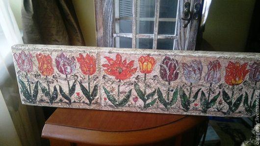 Картины цветов ручной работы. Ярмарка Мастеров - ручная работа. Купить Панно деревянное настенное 11 тюльпанов (из книги 17 в). Handmade.