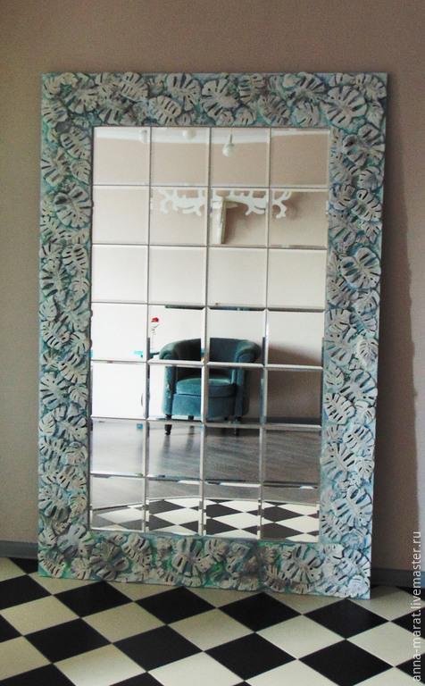 """Зеркала ручной работы. Ярмарка Мастеров - ручная работа. Купить зеркало """"Монстера"""". Handmade. Бирюзовый, шебби шик, лепнина, лепнина"""