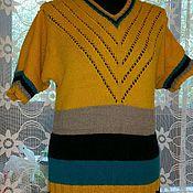 Одежда ручной работы. Ярмарка Мастеров - ручная работа Полосатое теплое вязаное платье из 100% шерсти. Handmade.
