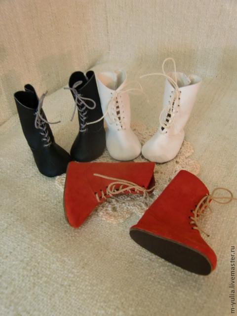 Одежда для кукол ручной работы. Ярмарка Мастеров - ручная работа. Купить Обувь для кукол, БЖД и мишек тедди. Сапоги на шнуровке. Кожа .. Handmade.