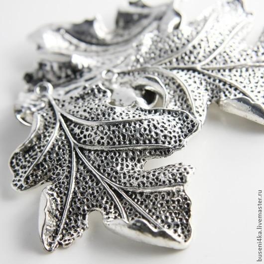 Для украшений ручной работы. Ярмарка Мастеров - ручная работа. Купить Подвеска Листик №22 дубовый, античное серебро (1шт). Handmade.