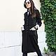 R00034 Пальто теплое пальто из шерсти шерстяное пальто женское пальто черное пальто стильное пальто длинное осеннее пальто кардиган из шерсти
