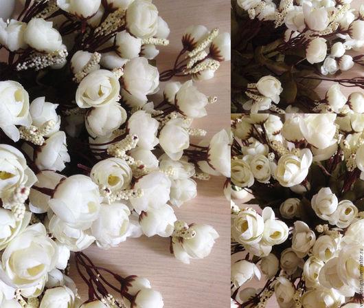 Материалы для флористики ручной работы. Ярмарка Мастеров - ручная работа. Купить Букет тканевых розочек, 30 см, 6 веточек, 18 бутонов, цвет Белый. Handmade.