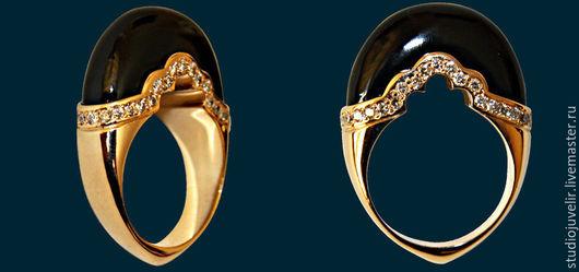 Кольца ручной работы. Ярмарка Мастеров - ручная работа. Купить Золотое кольцо с агатом и бриллиантами. Handmade. Черный, золото, бриллианты