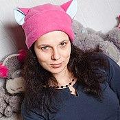 Аксессуары ручной работы. Ярмарка Мастеров - ручная работа флисовые шапки с ушами - котошапки. Handmade.
