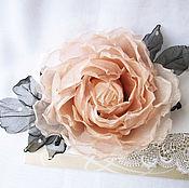 Украшения handmade. Livemaster - original item Brooch Marshmallow-pastel rose. silk flowers. Handmade.