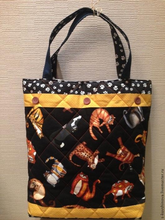 Женские сумки ручной работы. Ярмарка Мастеров - ручная работа. Купить большая сумка с котами. Handmade. Черный, оригинальный подарок