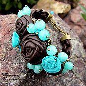 Украшения handmade. Livemaster - original item Chocolate breeze. The genuine leather bracelet with aquamarine.. Handmade.