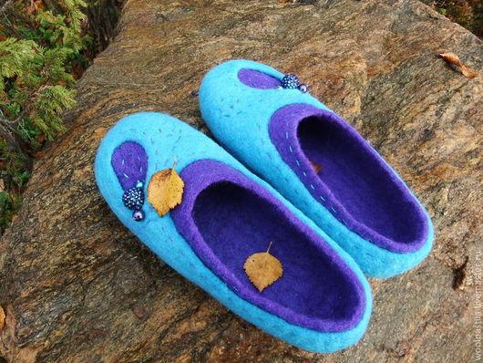 Обувь ручной работы. Ярмарка Мастеров - ручная работа. Купить Валяные тапочки Контрасты. Handmade. Новозеландский кардочес, обувь для дома