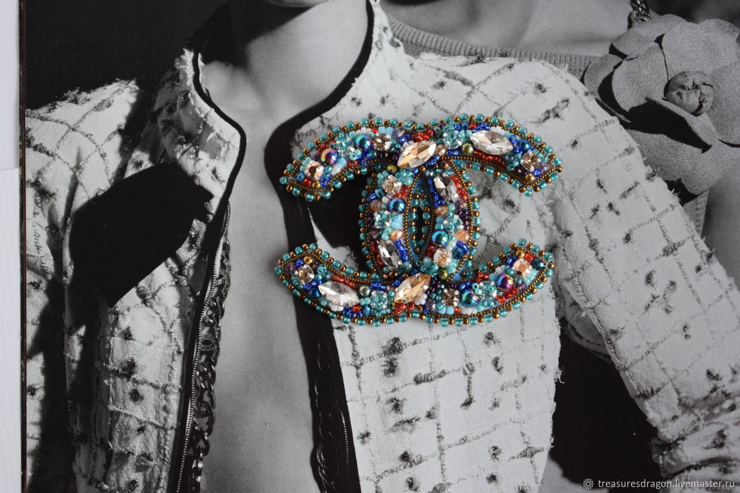 d1207223602c Brooches handmade. Livemaster - handmade. Buy Chanel style brooch made of  beads and crystals ...