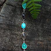 Украшения handmade. Livemaster - original item Silver bracelet with chrysoprase, rauchtopazes and turquoise. Handmade.