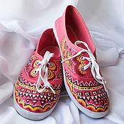 """Обувь ручной работы. Ярмарка Мастеров - ручная работа Кеды  женские с рисунком на заказ  """"Фламинго"""". Роспись. Handmade."""