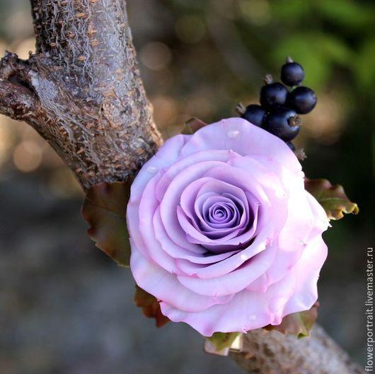 Заколки ручной работы. Ярмарка Мастеров - ручная работа. Купить Заколка с розой и черной смородиной. Handmade. Заколка для волос