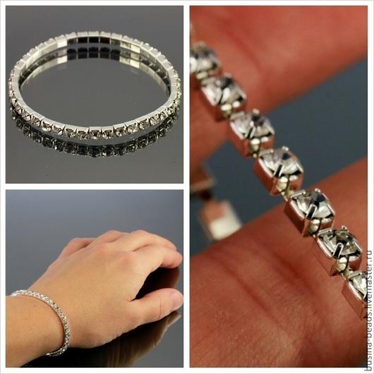 Основа для браслета из цепочки серебристого цвета из цап с ювелирными бесцветными стразами эластичная