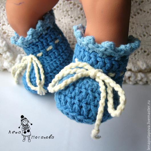 """Для новорожденных, ручной работы. Ярмарка Мастеров - ручная работа. Купить Пинетки """"Baby Boots Blue"""". Handmade. Синий, на выписку"""