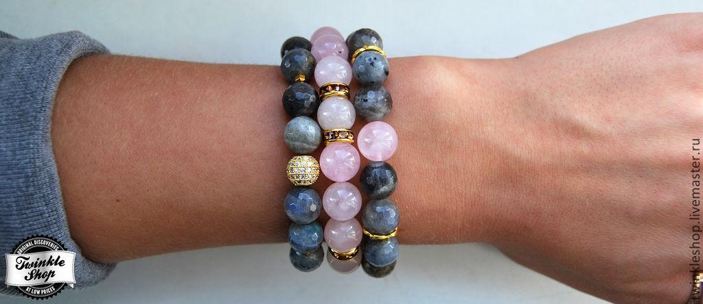 Rose quartz, labradorite, jewelry accessories