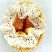 Работы для детей, ручной работы. Ярмарка Мастеров - ручная работа желтый снуд для девочки с ажурной деталью. Handmade.