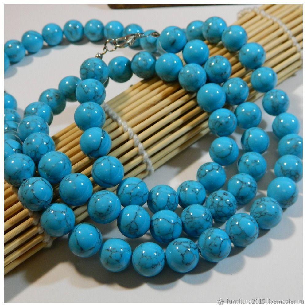 Говлит голубой 2 размера 10,8 мм(бирюза имитация). шт, Бусины, Саратов,  Фото №1