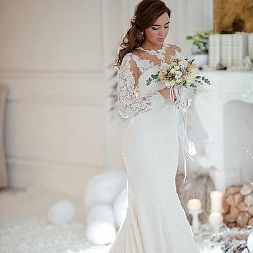 Свадебный салон ручной работы. Ярмарка Мастеров - ручная работа Свадебное платье молочное французское кружево. Handmade.