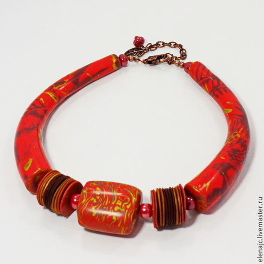 Колье, бусы ручной работы. Ярмарка Мастеров - ручная работа. Купить Колье Калина красная из полимерной глины. Handmade.
