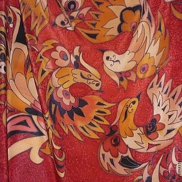 Аксессуары ручной работы. Ярмарка Мастеров - ручная работа Платок шелковый батик Хохлома. Handmade.