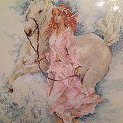 """Картины и панно ручной работы. Ярмарка Мастеров - ручная работа Вышитая картина """"Девушка с лошадью"""". Handmade."""