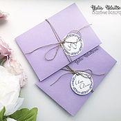 Приглашения ручной работы. Ярмарка Мастеров - ручная работа Сиреневые приглашения в конверте с лавандой. Handmade.
