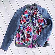 Одежда handmade. Livemaster - original item Bomber jacket Spring leather and fabric. Handmade.
