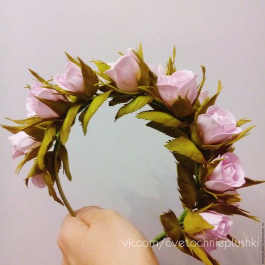 """Диадемы, обручи ручной работы. Ярмарка Мастеров - ручная работа. Купить Венок """"Твоя весна"""" с бутонами роз. Handmade."""