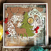 Открытки ручной работы. Ярмарка Мастеров - ручная работа Новогодняя открытка с оленем. Handmade.